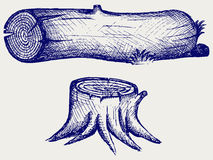 Old tree stump and log. Doodle style Royalty Free Stock Photos