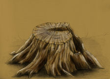 Old tree stump - sketch. Pencil drawing of a single cracked tree stump. Remains of a dead tree Royalty Free Stock Image