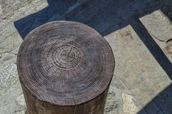 Old tree trunk section with its annual ring. Closeup picture of an old tree trunk section with its annual ring Royalty Free Stock Images