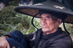 Old tribal chief of Yi people Royalty Free Stock Images