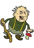 Old troll. Illustration an old ugly troll with a cane and a mushroom Royalty Free Stock Photos
