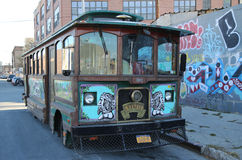 Old trolley covered with graffiti in Brooklyn Stock Photo