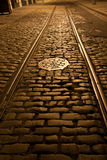 Old trolley tracks and cobblestones stock photo