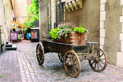 Old trolley witn flowers royalty free stock photos