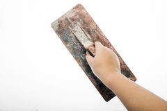 Old trowel in  hand Royalty Free Stock Images