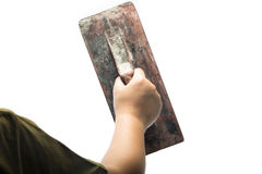 Old trowel in  hand Royalty Free Stock Image
