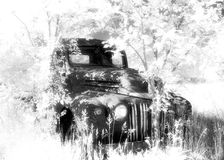 Old truck. Infrared truck in trees royalty free stock photos