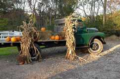 Old Truck With Autumn Decorations Royalty Free Stock Image