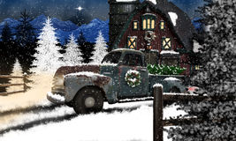 Old Truck and Barn at Christmas. An old Chevrolet truck with Christmas wreath on door and pine tree in bed, lights are on in barn, sky is filled with snow and royalty free stock photos