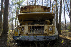 Old truck. Old broken down abandoned buss Stock Photography