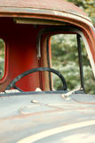 Old truck cab. With destroyed windshield royalty free stock image