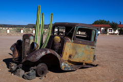 Old Truck with cactus royalty free stock photography