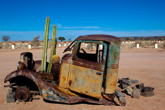 Old Truck with cactus stock image