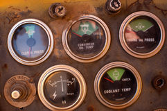 Old truck dashboard with gauges Royalty Free Stock Images