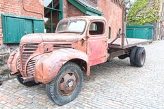 Old Truck at the Distillery District in Toronto. Toronto, Canada - Oct 13, 2017: Old rusty truck at the historic Distillery District in the city of Toronto royalty free stock photography