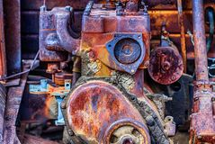 Old Truck Engine Rusted Out. Close up view of an old rusted truck engine with its many textures Stock Image