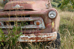 Old truck in grass royalty free stock photo