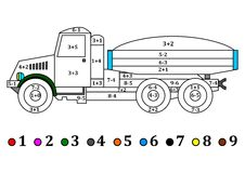 Old truck with the numerical examples for kids - coloring book Stock Photo