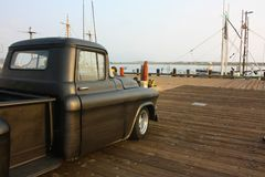 Old Truck on the Pier Stock Photo