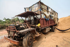 Old truck. Old rusty abandonment truck in jungle Royalty Free Stock Photos