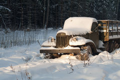 Old truck is stuck in snowdrift Stock Images
