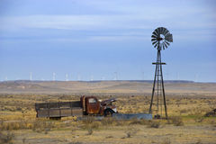 Old Truck and Windmill Stock Photo