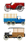 Old trucks. Old retro trucks, isolated objects over white background Stock Images
