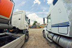 Old trucks are on base before leaving for a long-haul flight Royalty Free Stock Photo