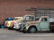 Old trucks parked against a brick wall backdrop royalty free stock images