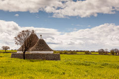 Trullo house perfect field Royalty Free Stock Images
