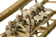 Old trumpet. Isolated on white with clipping path Stock Photos