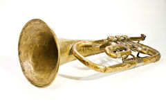 Old trumpet. With missing parts Royalty Free Stock Photography