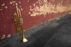Old Trumpet Brick Wall Royalty Free Stock Photos