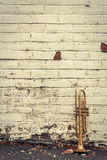 Old Trumpet Brick Wall Royalty Free Stock Photo