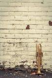 Old Trumpet Brick Wall Royalty Free Stock Photo