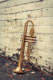 Old Trumpet Brick Wall Stock Photo