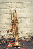 Old Trumpet Brick Wall Royalty Free Stock Images