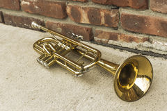 Old Trumpet Brick Wall Royalty Free Stock Image