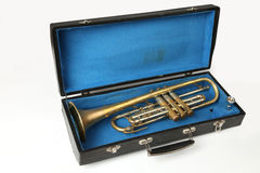 Old trumpet in the cases Royalty Free Stock Photo