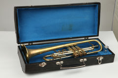 Old trumpet in the cases Royalty Free Stock Images