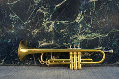 Old Trumpet Marble Wall Stock Photo