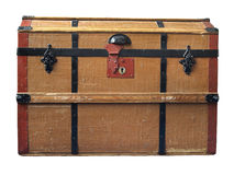 Old trunk. An old brown trunk with wooden frame and black locks Stock Photo