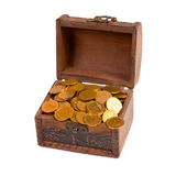 An old trunk with shiny coins Royalty Free Stock Photography