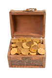 An old trunk with shiny coins isolated Stock Photography