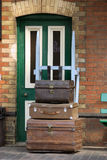 Old trunks. On a museum railway station platform Royalty Free Stock Photo