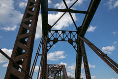 An Old Truss Bridge Looking up to the Sky Stock Photography