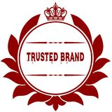 Old TRUSTED BRAND red seal. Illustration graphic image concept Royalty Free Stock Images