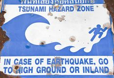 Old Tsunami Warning Sign. Stock Photography