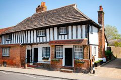 Old Tudor style timber-framed slate roof english house Royalty Free Stock Photography