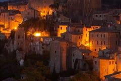 Old tuff town Sorano at night. Tuscany. Italy Royalty Free Stock Photography